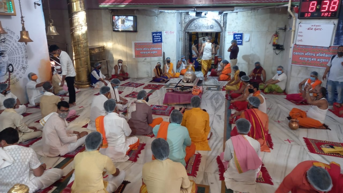 Priests chanting hymns in Nandi Grah at Mahakal temple in Ujjain on Friday