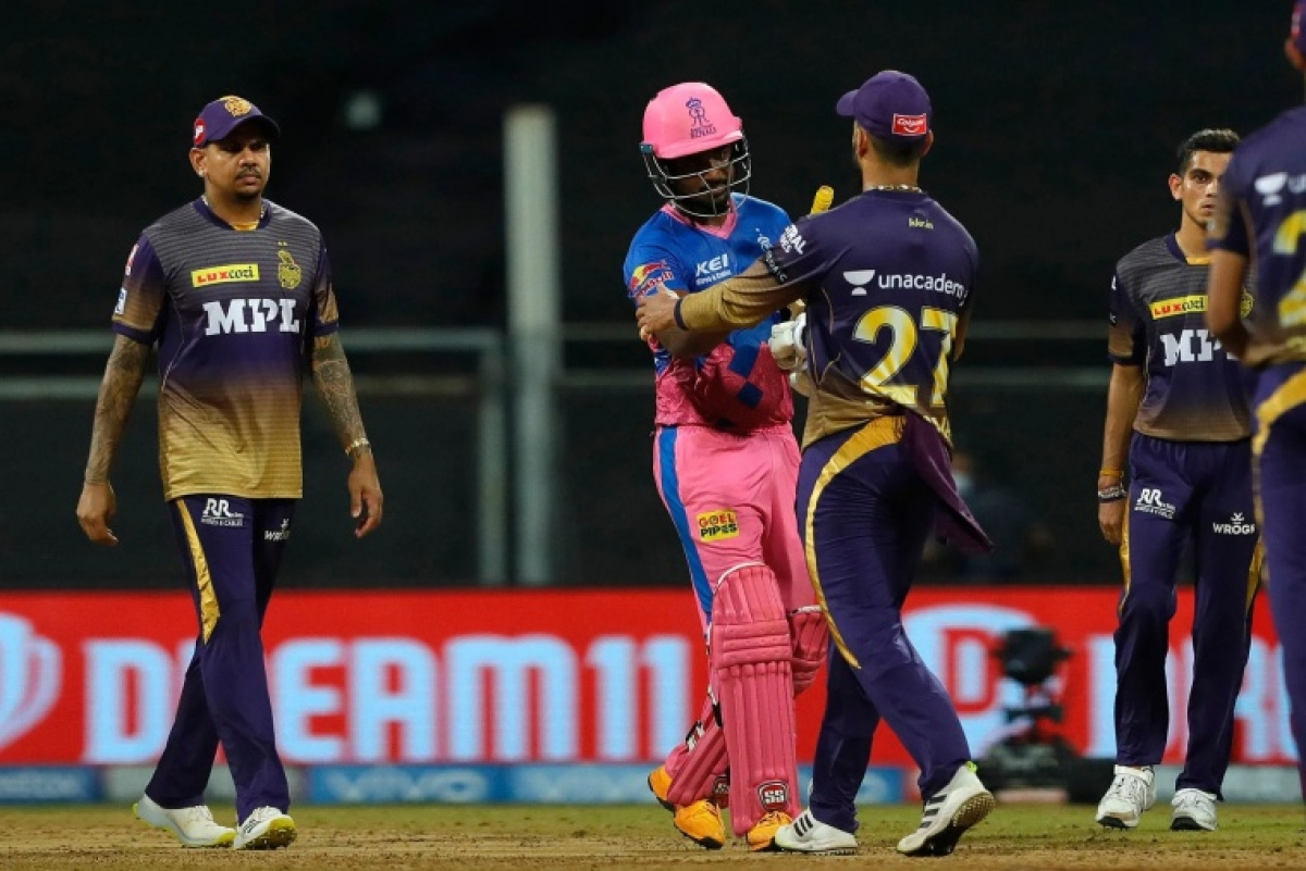 Sanju Samson captain of Rajasthan Royals celebrating the match win during match 18 of the Vivo Indian Premier League 2021 between the Rajasthan Royals and the Kolkata Knight Riders held at the Wankhede Stadium Mumbai on the 24th April 2021.