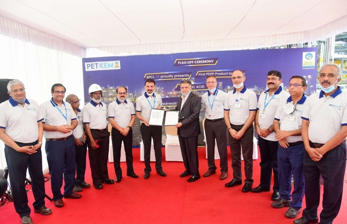 First consignment of Acrylic Acid leaves from BPCL's Petrochemical Plant at Kochi