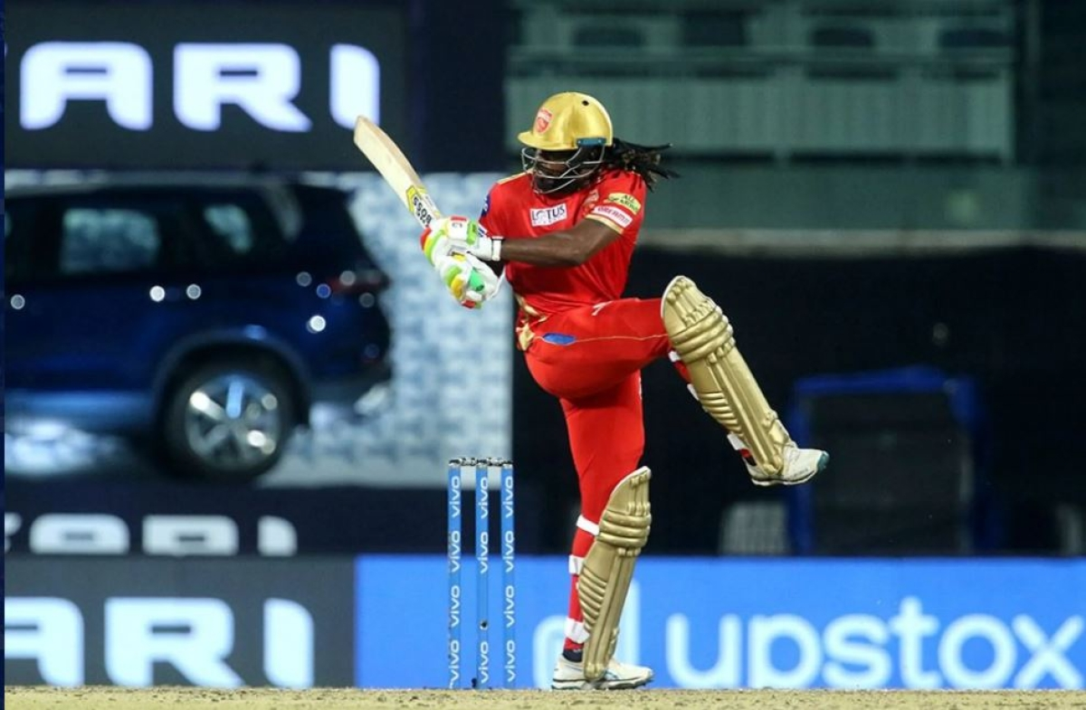 Chris Gayle of Punjab Kings plays a shot during match 17 of the Vivo Indian Premier League 2021 between the Punjab Kings and the Mumbai Indians at the M A Chidambaram Stadium, Chennai on Friday.
