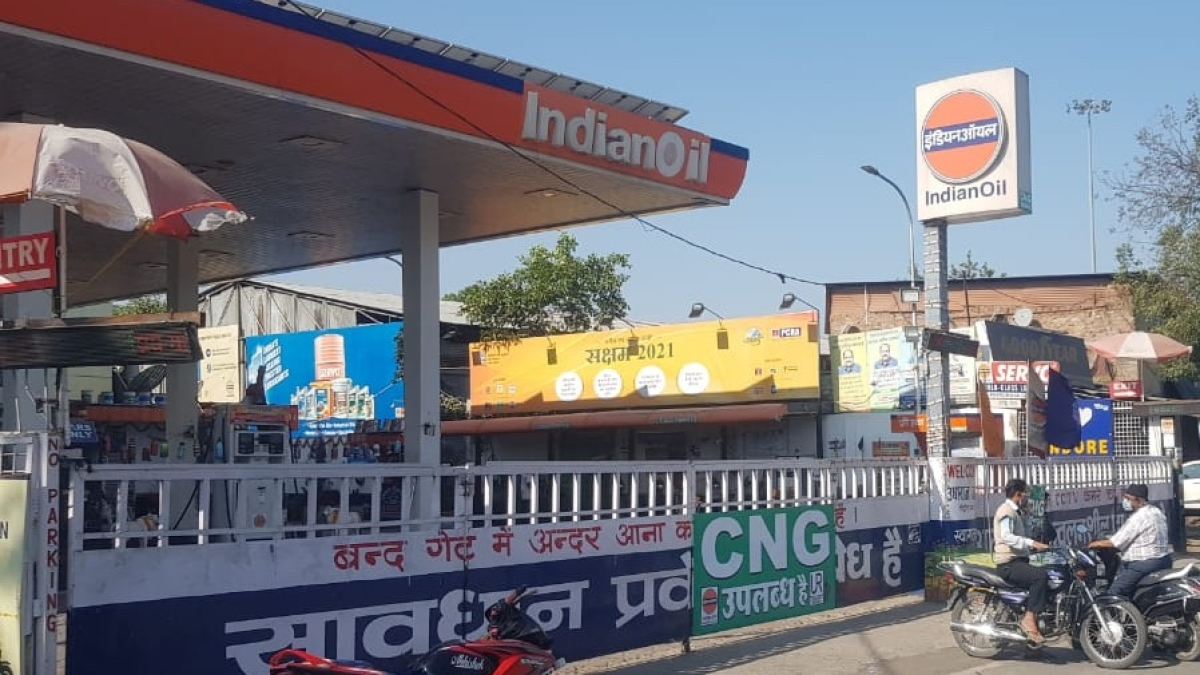 A view of petrol pump at Mhow Naka during bandh in Indore  on Saturday