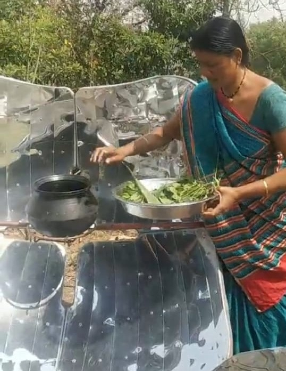 Solar cooking in progress