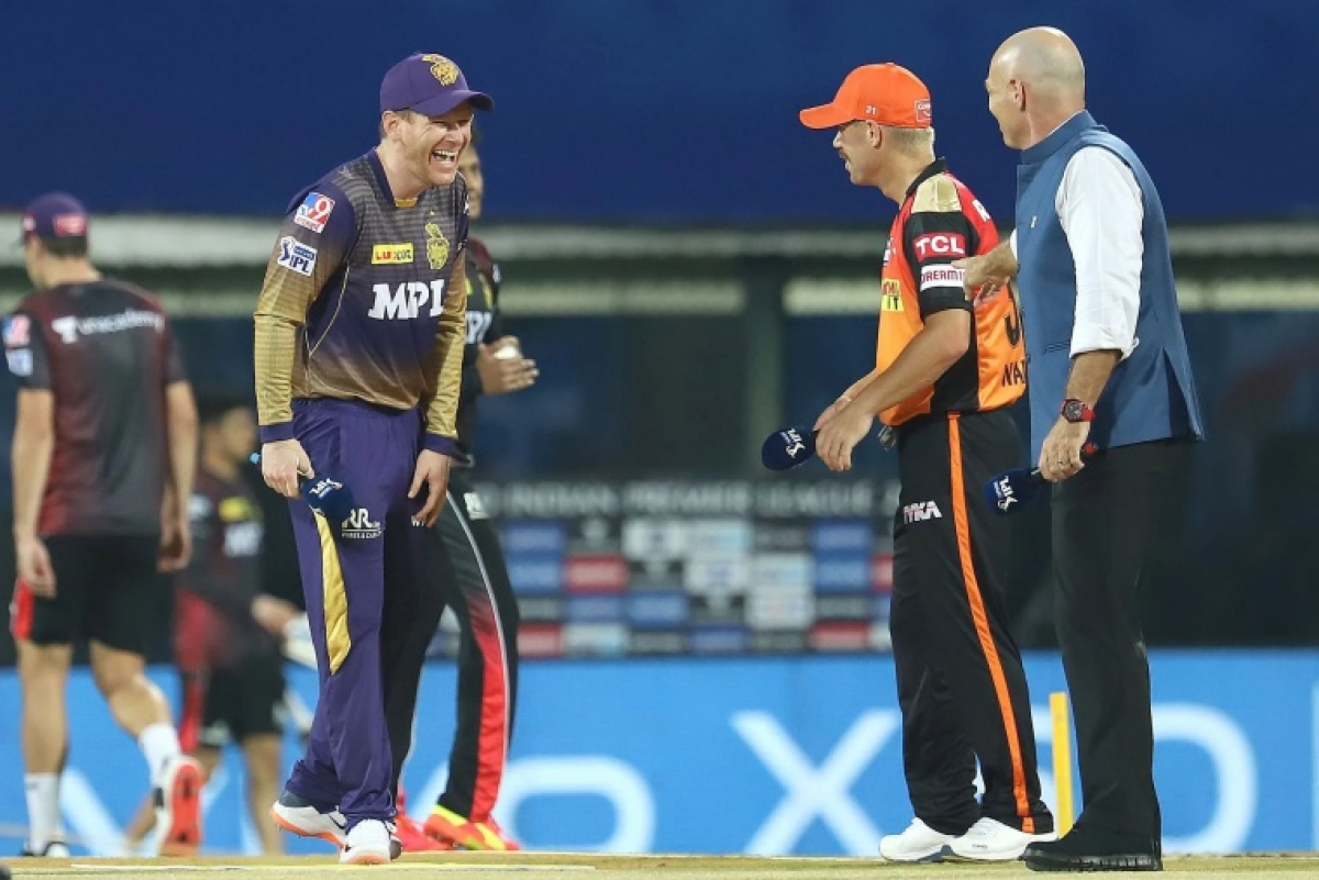 Eoin Morgan Captain of Kolkata Knight Riders and David Warner Captain of Sunrisers Hyderabad at the toss during match 3 of the Vivo Indian Premier League 2021 between Sunrisers Hyderabad and Kolkata Knight Riders held at the M. A. Chidambaram Stadium, Chennai on the 11th April 2021.