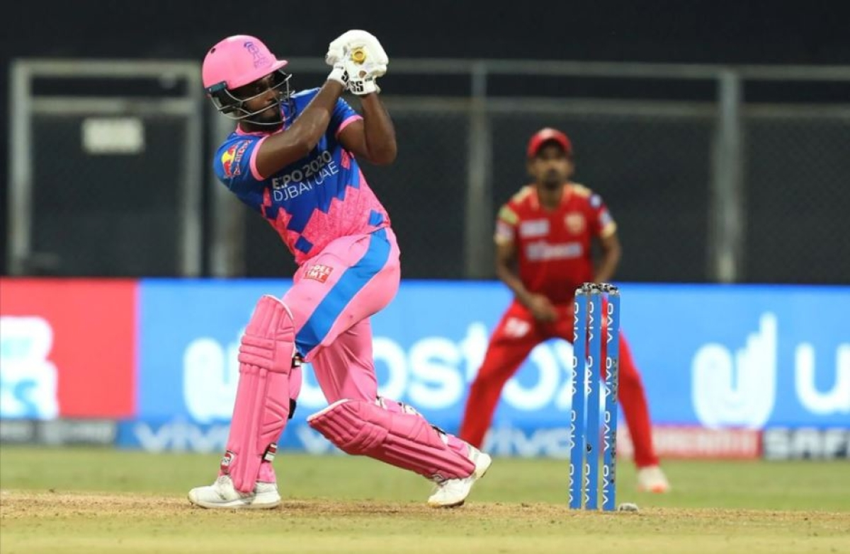 Sanju Samson (c) of Rajasthan Royals play a shot during match 4 of the Vivo Indian Premier League 2021 between Rajasthan Royals and the Punjab Kings held at the Wankhede Stadium Mumbai on the 12th April 2021.