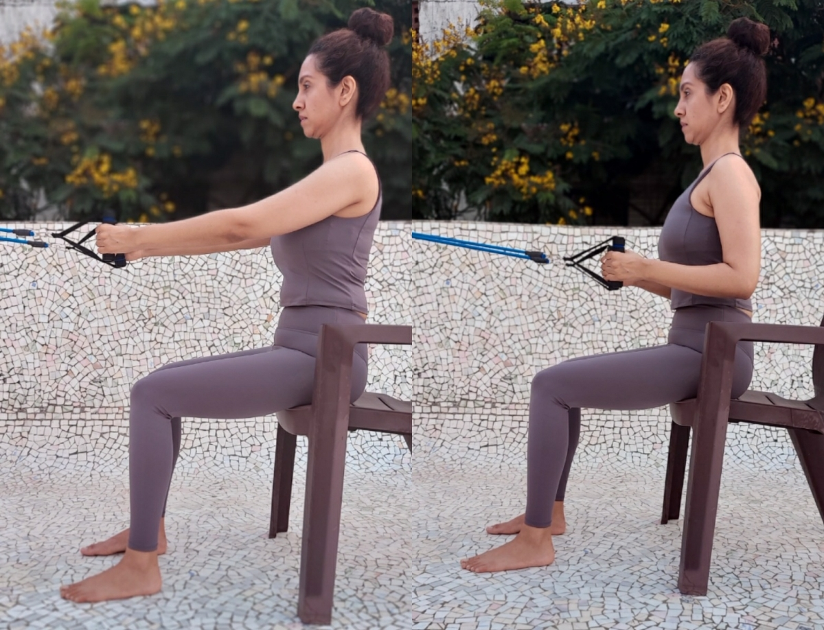 The Seated Row: Sit with your legs and hips in a 90 degree angle. Straighten your arms with some tension in the resistance band and then pull it while squeezing your shoulder blades back, lifting the chest up and relaxing the upper trapezius. Perform 15 repetitions of this exercise multiple times a day at regular intervals to get relief from neck pain and upper back pain and correct your posture.