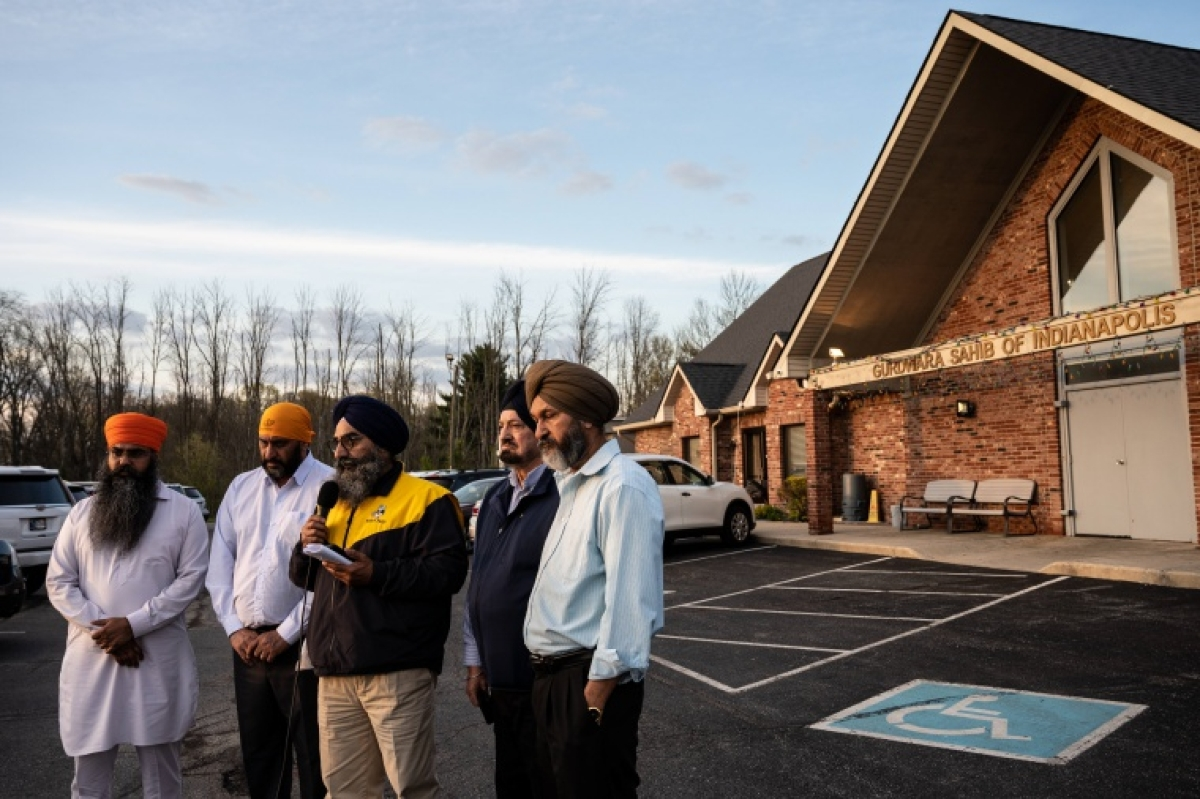 Leaders of the Sikh Satsang, Indianapolis speak to media on Saturday