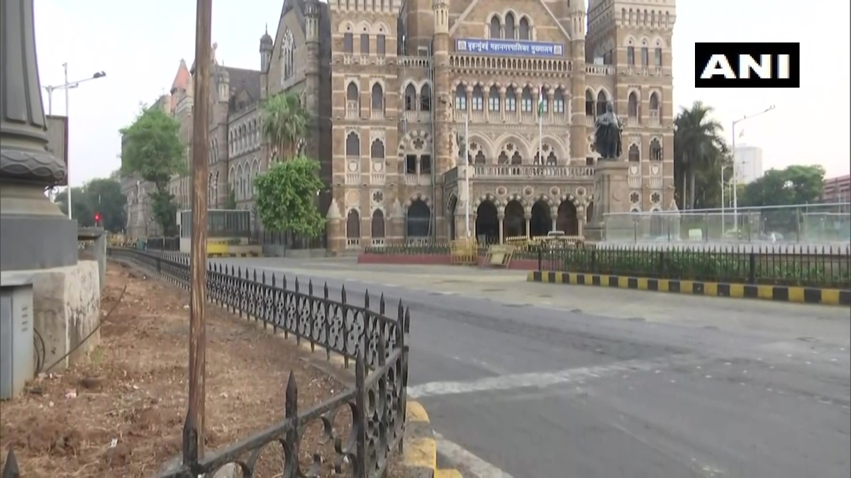 A view of streets wears a deserted look as weekend lockdown has been imposed by the state government in the city to contain the COVID19 pandemic, near CST station in Mumbai on Sunday.