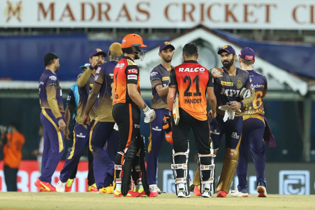 Kolkata Knight Riders and Sunrisers Hyderabad players greet each other after the match 3 of the Vivo Indian Premier League 2021 between Sunrisers Hyderabad and Kolkata Knight Riders held at the M. A. Chidambaram Stadium, Chennai on the 11th April 2021.