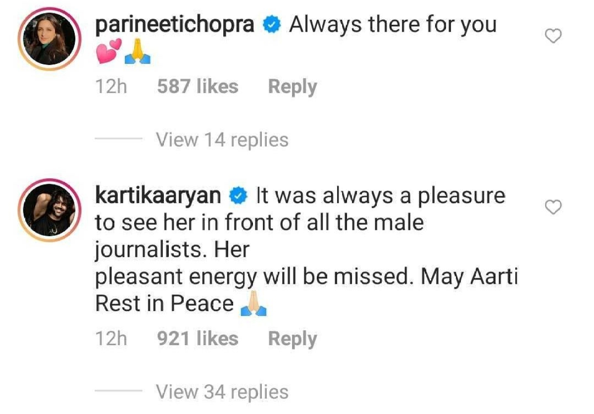 Kartik Aaryan, Parineeti Chopra secretly helped family of entertainment journo, who died due to COVID-19