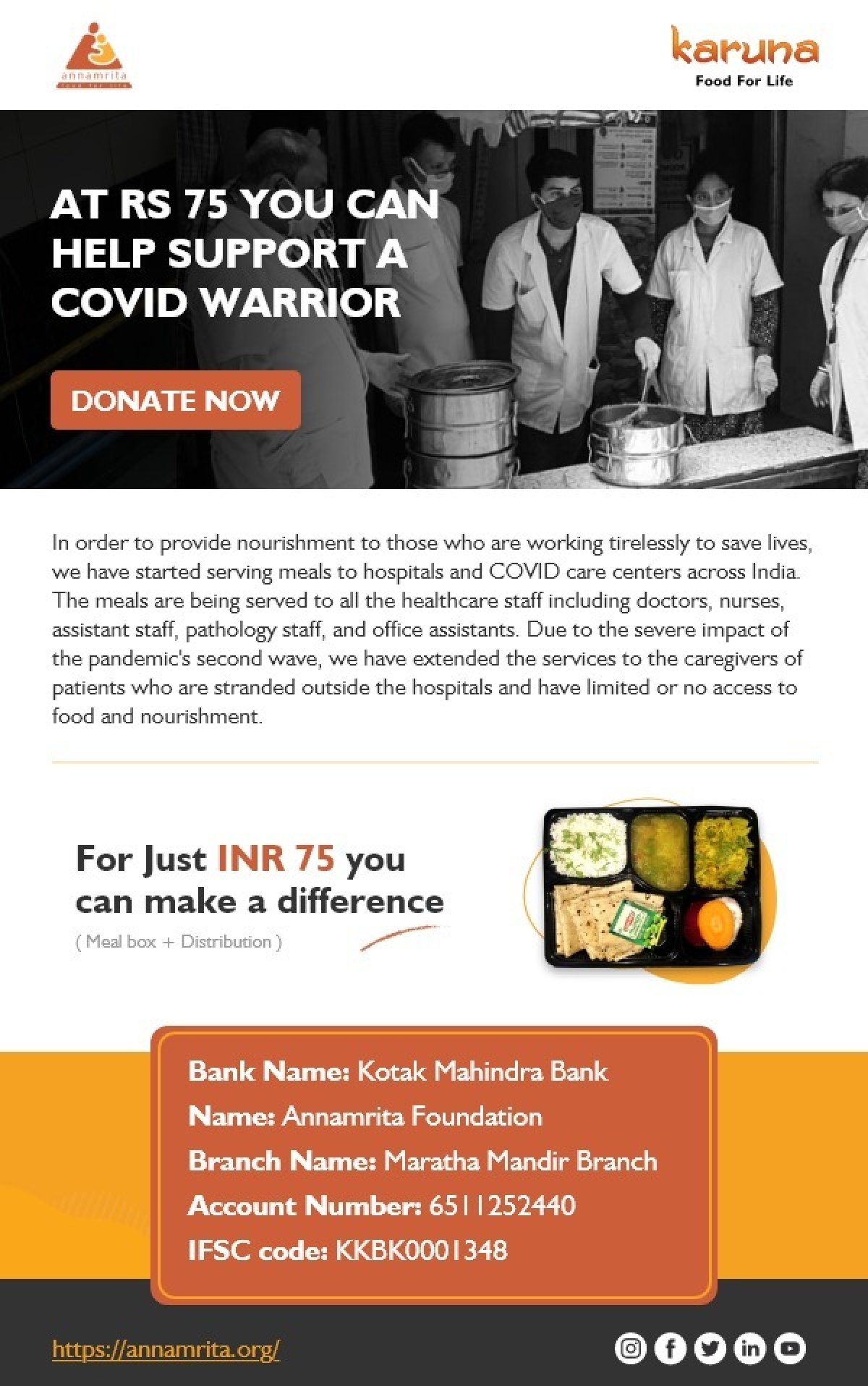 Annamrita Foundation to provide meals to COVID-19 warriors: Here's how you can donate