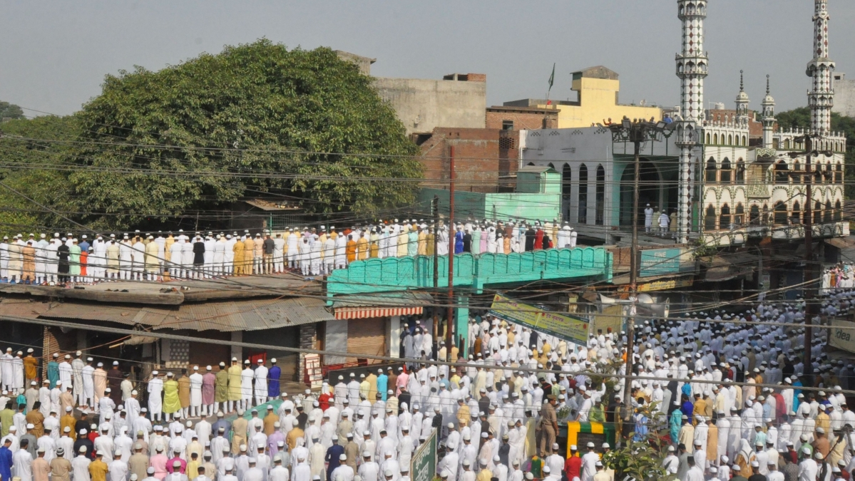 Moradabad: Muslim devotees offer prayers on the occasion of the Eid-ul- Fitr festival, at Eidgah in Moradabad. (Representative Photo)