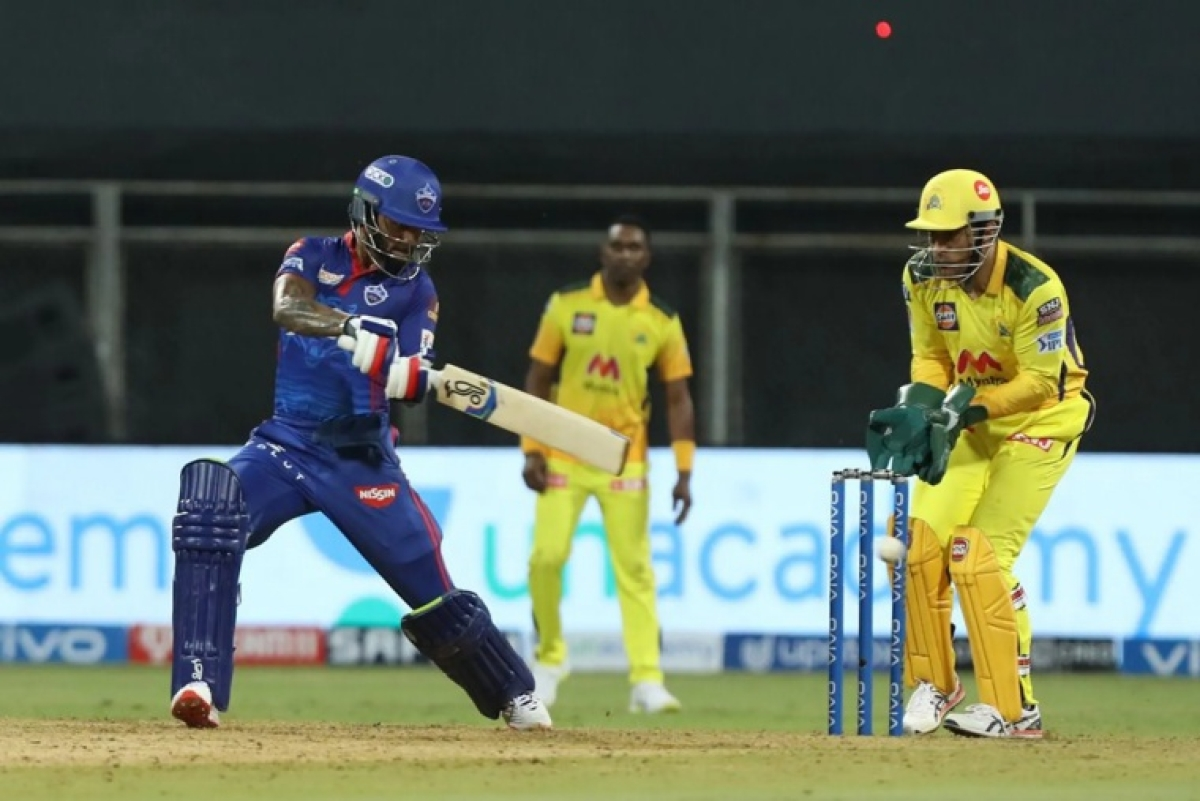 Shikhar Dhawan of Delhi Capitals play a shot during match 2 of the Vivo Indian Premier League 2021 between Chennai Super Kings and Delhi Capitals held at the Wankhede Stadium Mumbai on the 10th April 2021.
