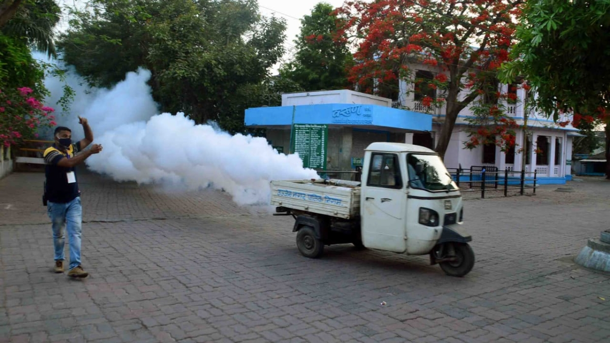 A fogging machine at work on the Civil Hospital premises in Ujjain on Tuesday