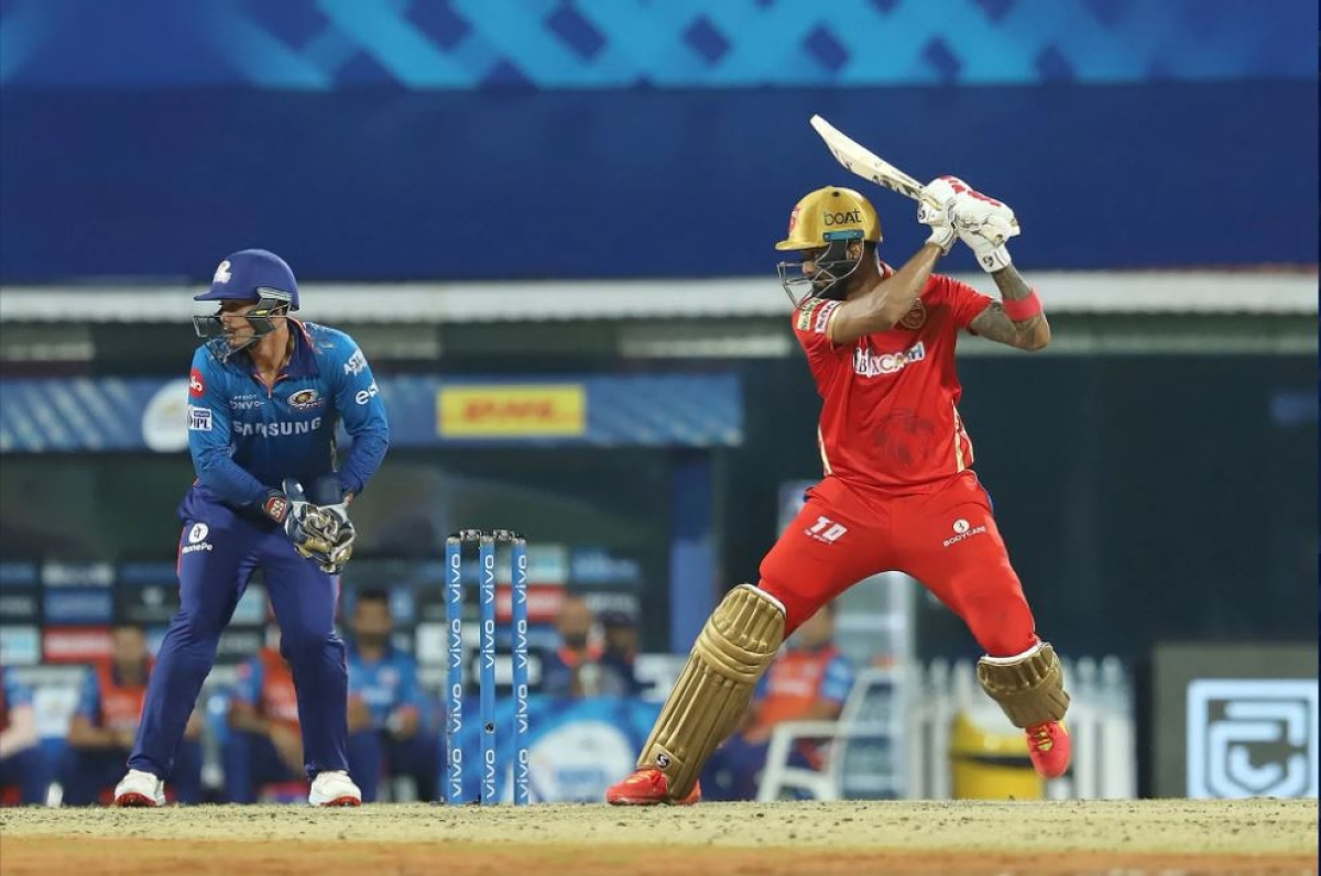 KL Rahul Captain of Punjab Kings plays a shot during match 17 of the Vivo Indian Premier League 2021 between the Punjab Kings and the Mumbai Indians held at the M. A. Chidambaram Stadium, Chennai on the 23rd April 2021.