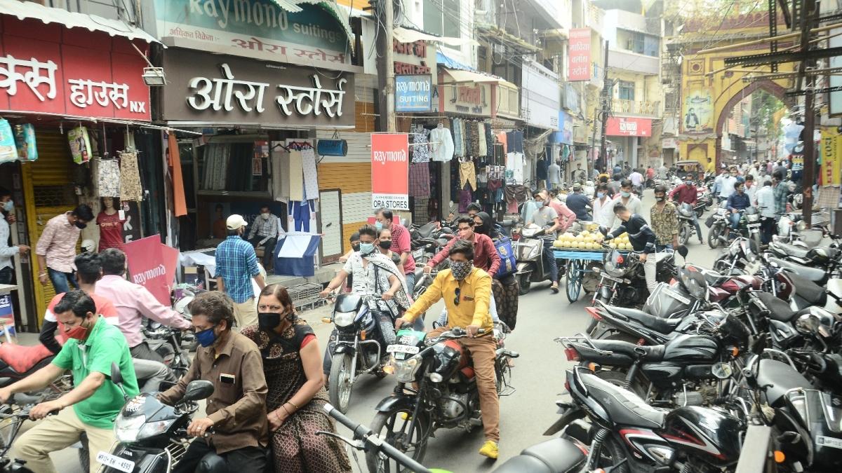 Rush at Sarafa-Satigate in Ujjain on Monday