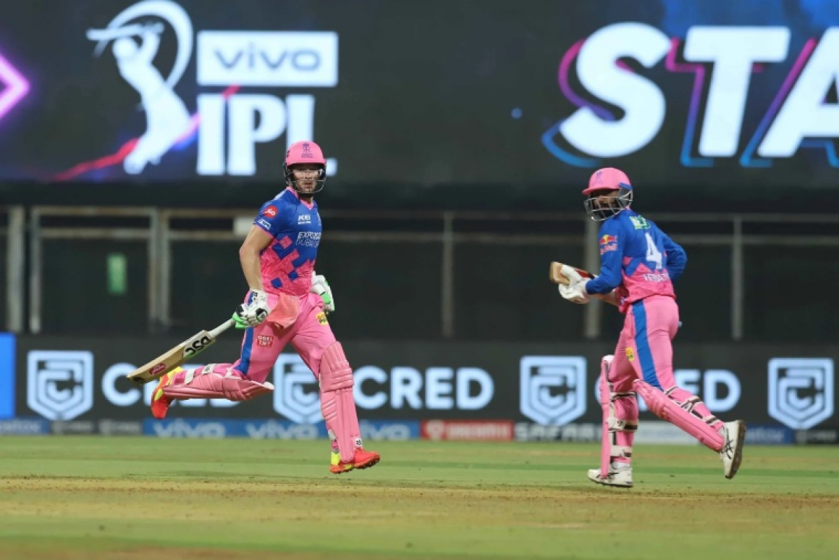 David Miller and Rahul Tewatia of Rajasthan Royals during match 7 of the Vivo Indian Premier League 2021 between the Rajasthan Royals and the Delhi Capitals held at the Wankhede Stadium Mumbai on the 15th April 2021.