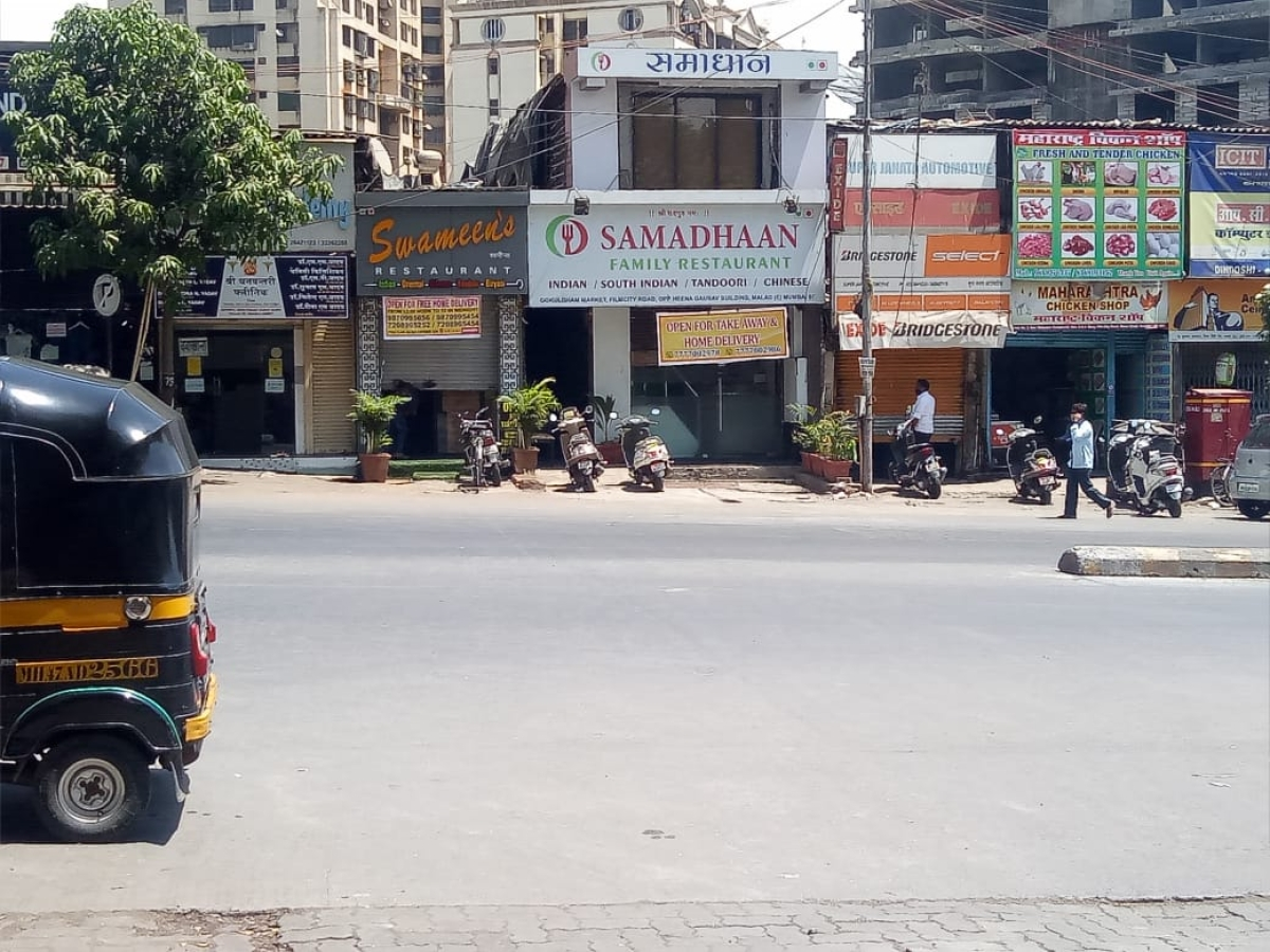 An empty Gokuldham Market seen on the otherwise busy Film City Road in Malad due to lockdown in Mumbai on 23 April 2021.