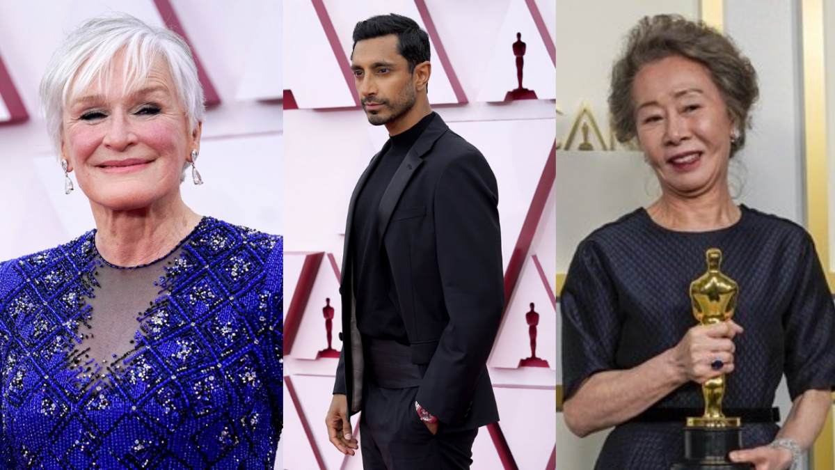 Actors Glenn Close, Riz Ahmed and Yuh-Jung Youn