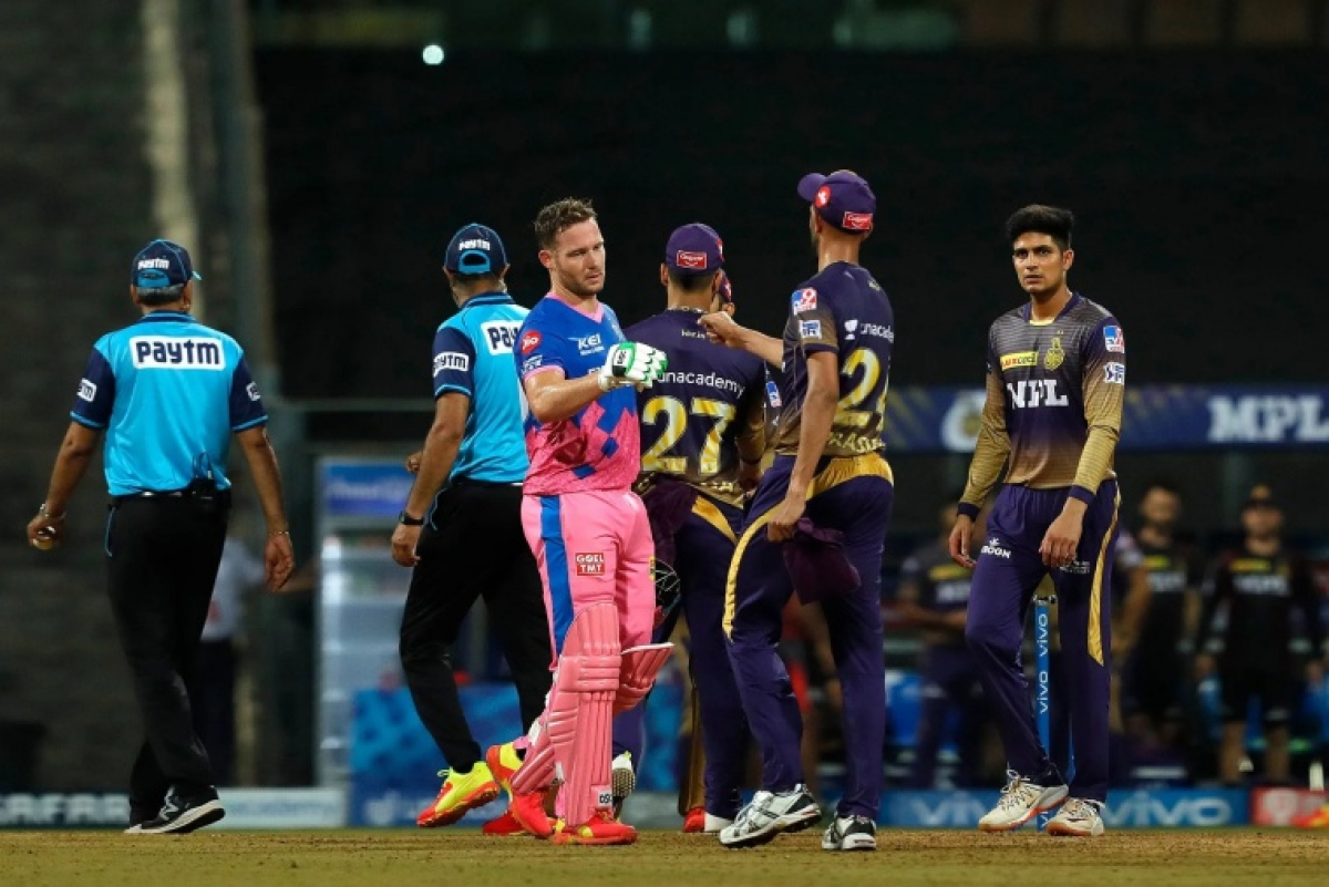 David Miller of Rajasthan Royals celebrating the match win during match 18 of the Vivo Indian Premier League 2021 between the Rajasthan Royals and the Kolkata Knight Riders held at the Wankhede Stadium Mumbai on the 24th April 2021.