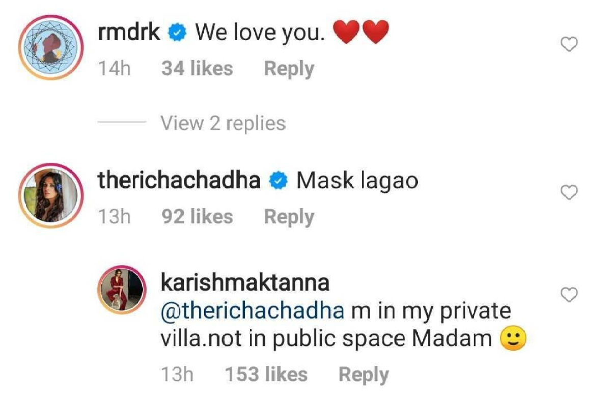 Why did Karishma Tanna hit back at Richa Chadha for saying 'mask lagao' in latest Instagram post?