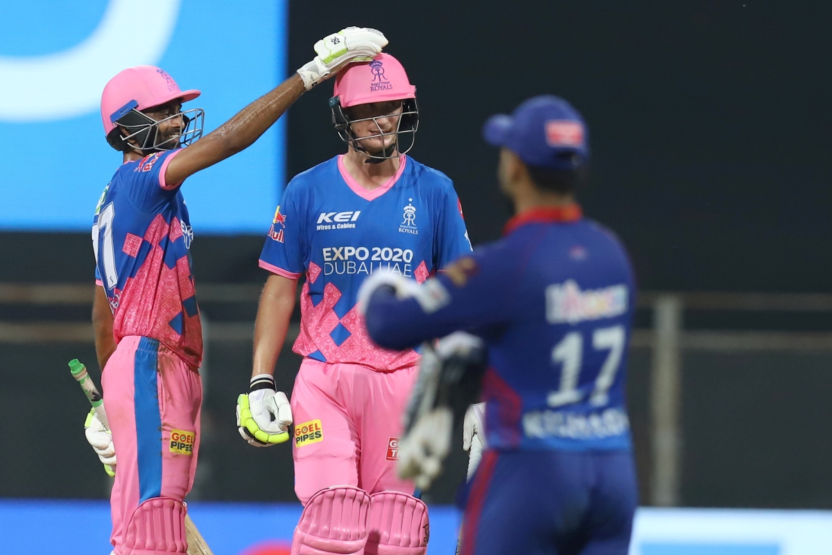Mumbai: Rajasthan Royals players celebrate their win in the Indian Premier League cricket match against Delhi Capitals at the Wankhede Stadium in Mumbai, Thursday, April 15, 2021.