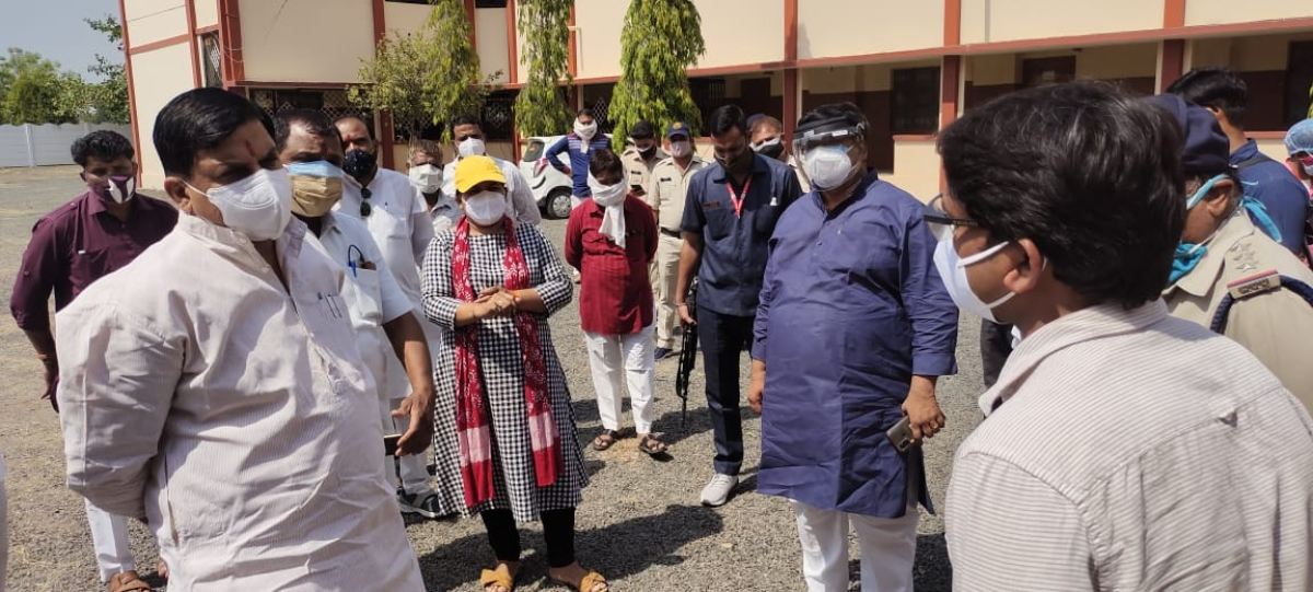 Higher education minister and district Covid-19 in-charge Mohan Yadav along with Member of Parliament Anil Firojia and officials inspected rural hospitals of Ujjain on Tuesday