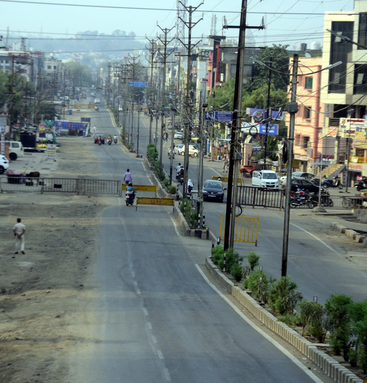 Aerial  view of road which wore a deserted look in the state capital, Bhopal, on Saturday.
