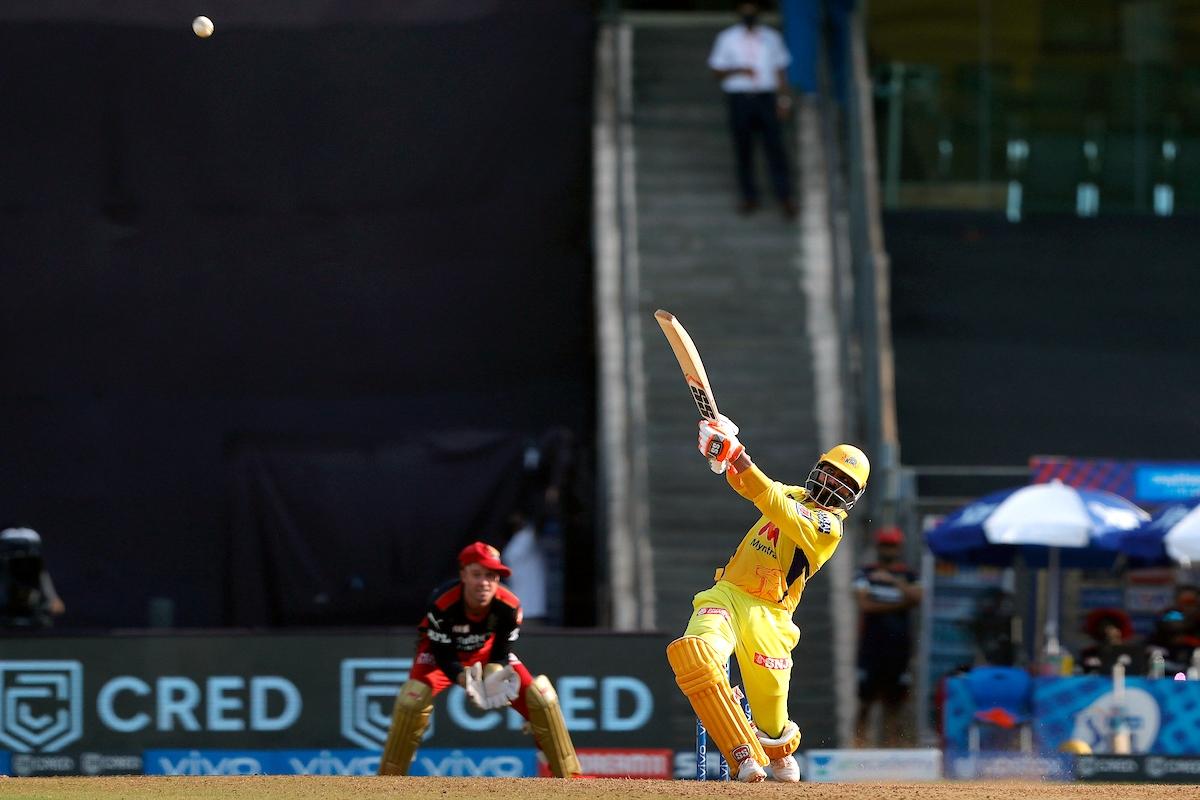 Maharashtra, Apr 25 (ANI): Ravindra Jadeja of Chennai Super Kings plays a shot during the match between the Chennai Super Kings and the Royal Challengers Bangalore at the Wankhede Stadium, in Mumbai on Sunday.
