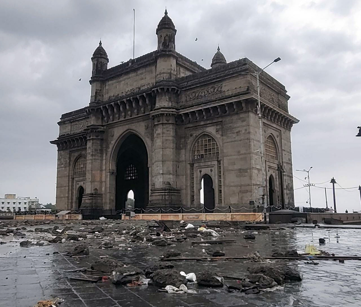 Maharashtra, May 18 (ANI): A view of Gateway of India after Cyclone Tauktae hit, in Mumbai on Tuesday.