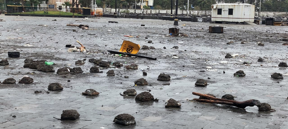 Maharashtra, May 18 (ANI): After effects of Cyclone Tauktae near Gateway of India in Mumbai on Tuesday.