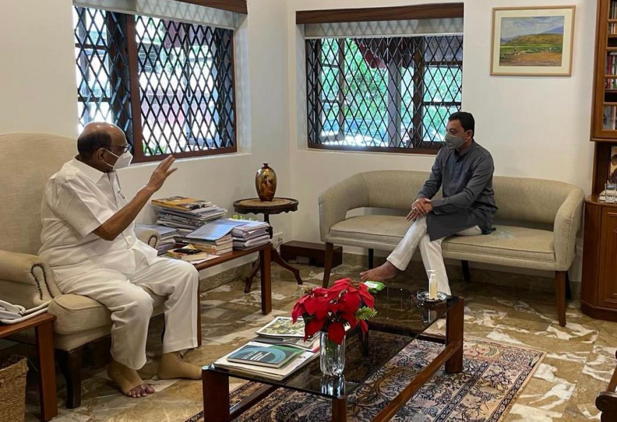 MP Sambhaji Chhatrapati with NCP chief Sharad Pawar