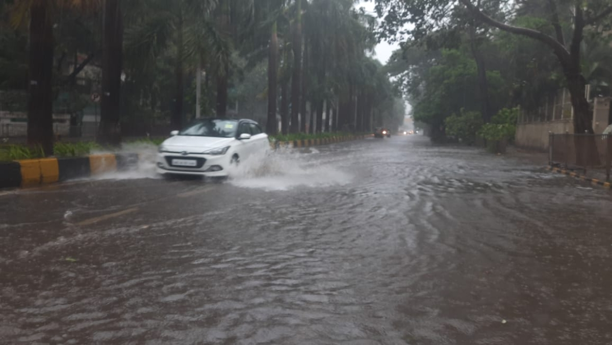 Roads in Dahisar faced waterlogging due to the ongoing Cyclone Tauktae on May 17, 2021.