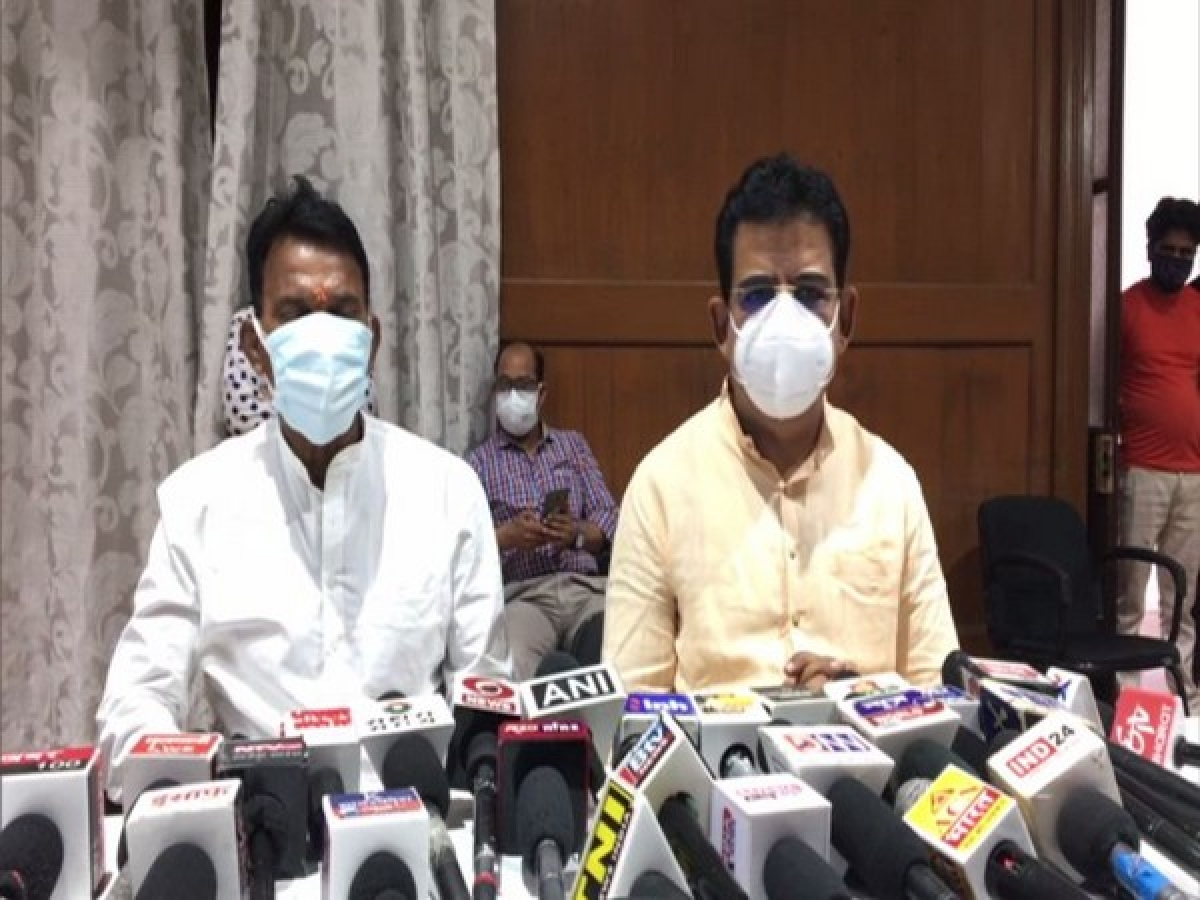 State water resources minister Tusli Silawat and Indore MP Shankar Lalwani talking to mediapersons in Indore on Monday