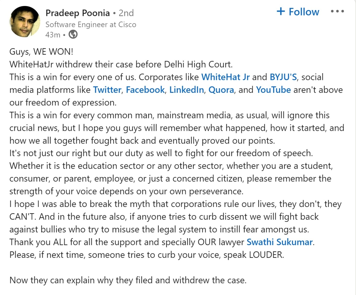 IIT engineer says corporates not above freedom of speech after WhiteHat Jr withdraws defamation case against him