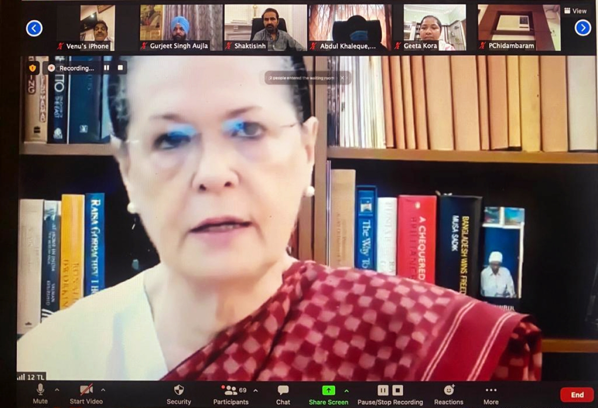 New Delhi, May 07 (ANI): Congress Interim President Sonia Gandhi addresses during Congress Parliamentary Party Meeting via video conference in New Delhi on Friday.