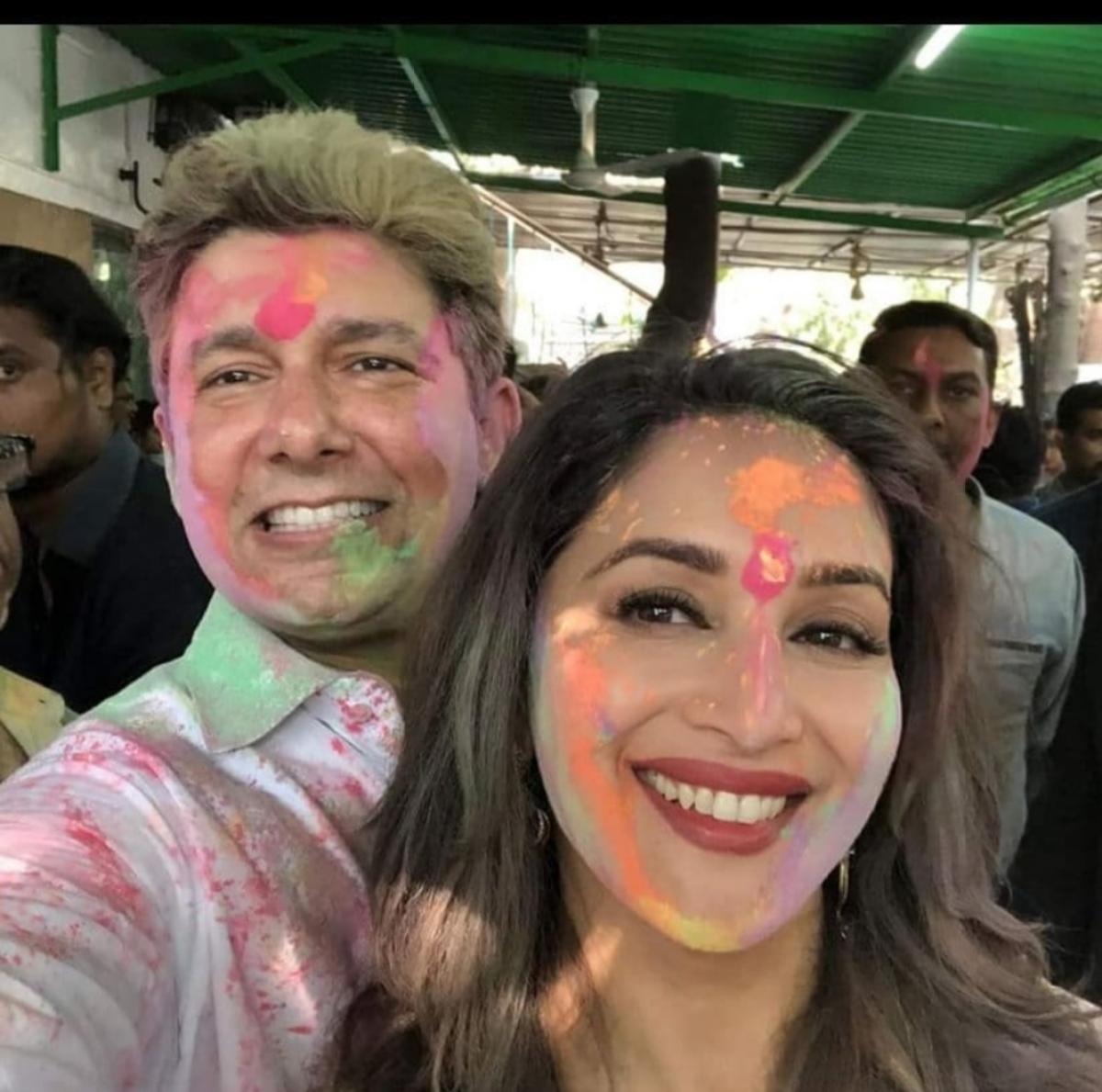 Madhuri and her husband celebrate Holi