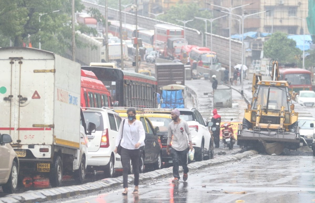 Traffic created due to heavy rains
