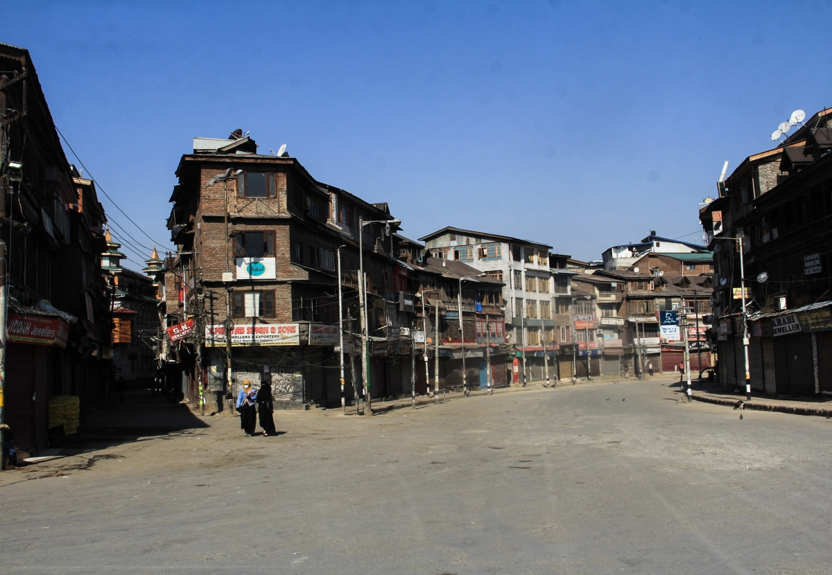 A deserted view of closed market during Corona curfew in Srinagar, Kashmir. As the COVID-19 cases continue to rise the authorities imposed strict Corona curfew across Jammu and Kashmir in order to stop further spread of Coronavirus.