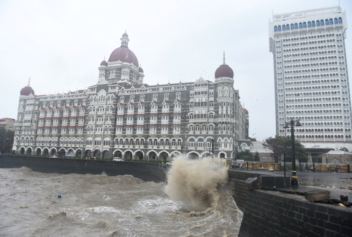 Rough sea in the aftermath of Cyclone Tauktae, near the Gateway of India, in Mumbai, Tuesday,