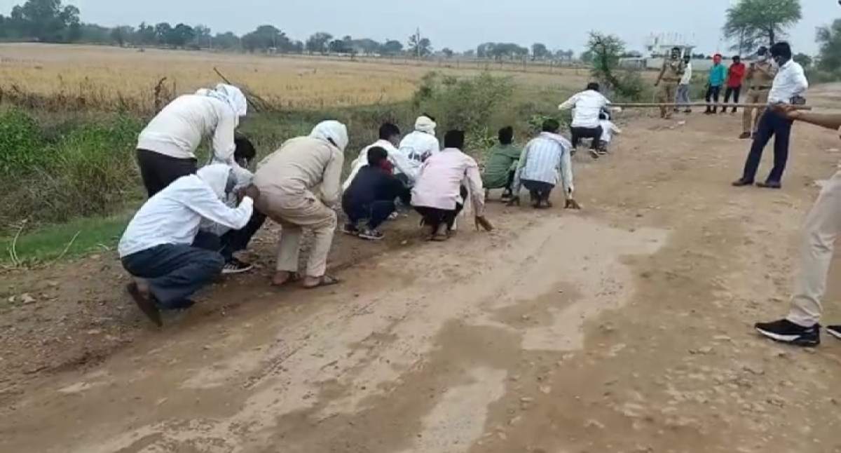 Baaratis were made to do Frog Jump in Bhind district on Wednesday