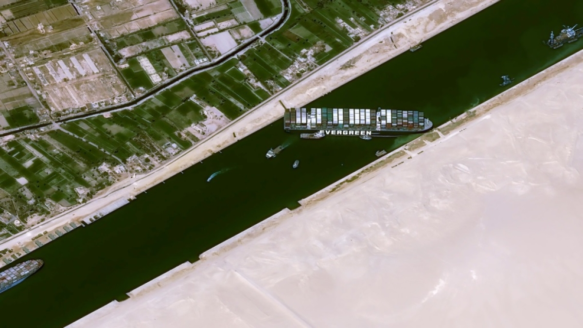 This satellite image shows the cargo ship MV Ever Given stuck in the Suez Canal near Suez, Egypt (File photo)