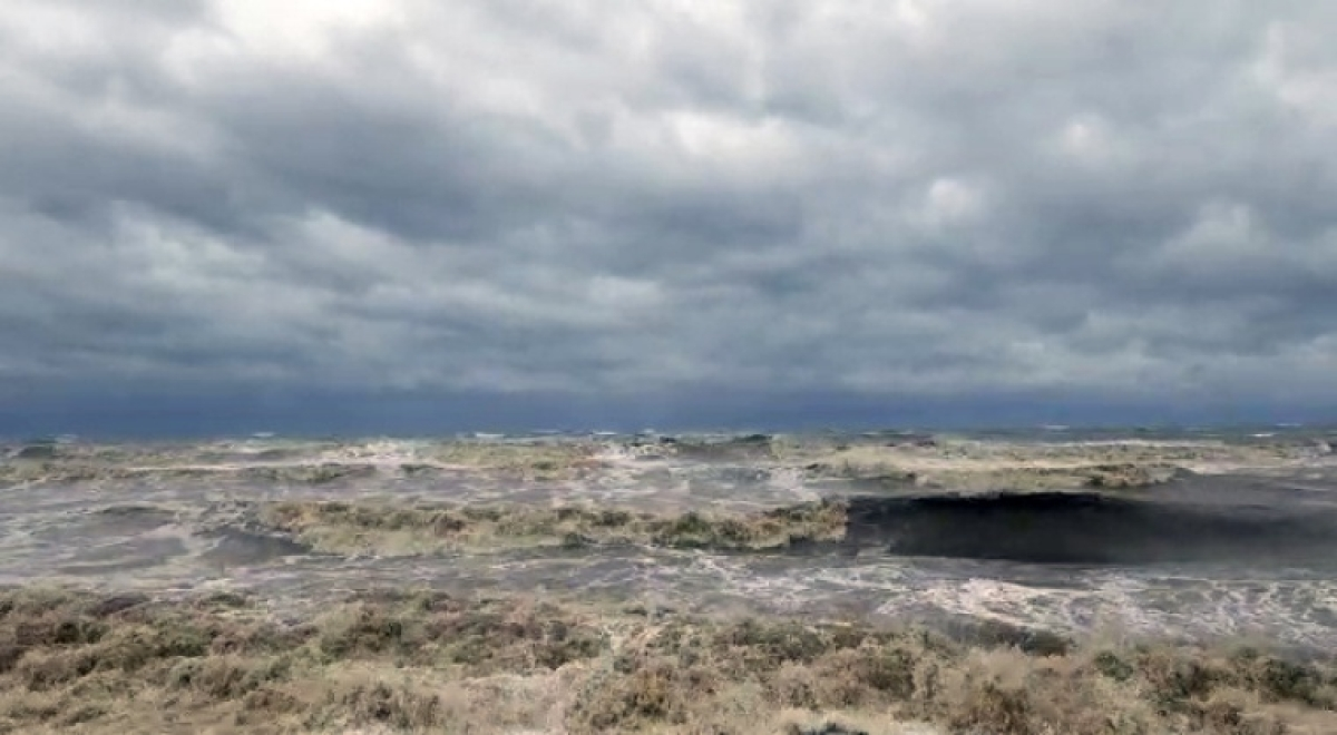 High tides form in the sea due to the formation of cyclone Tauktae, in Eriyad