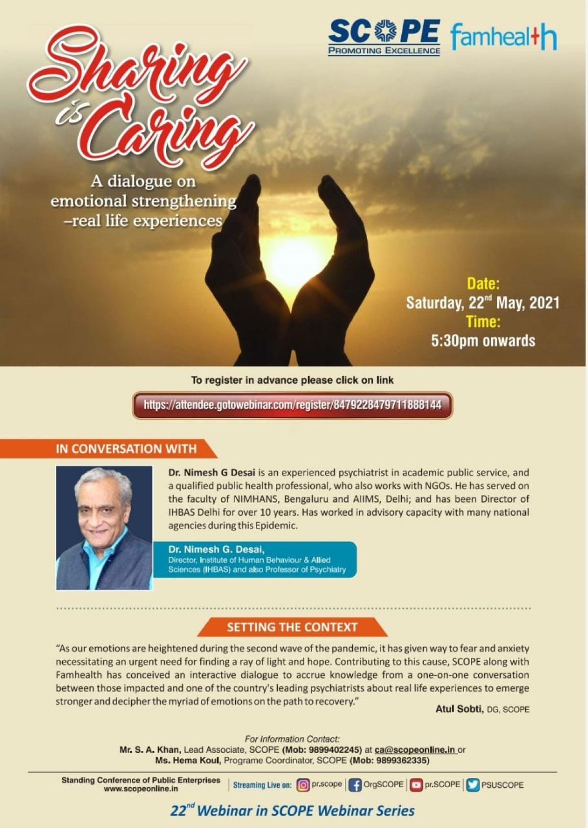 SCOPE to host Interaction on Emotional Strengthening during COVID's Second Wave