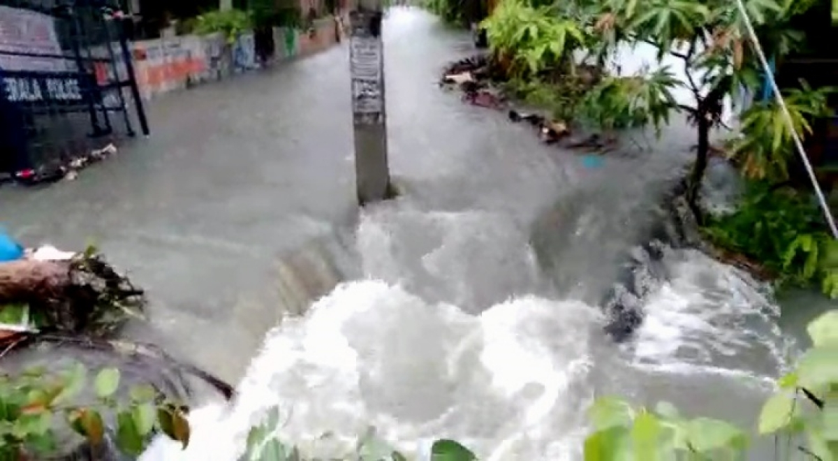 View of the waterlogging street due to rainfall amid cyclone warning