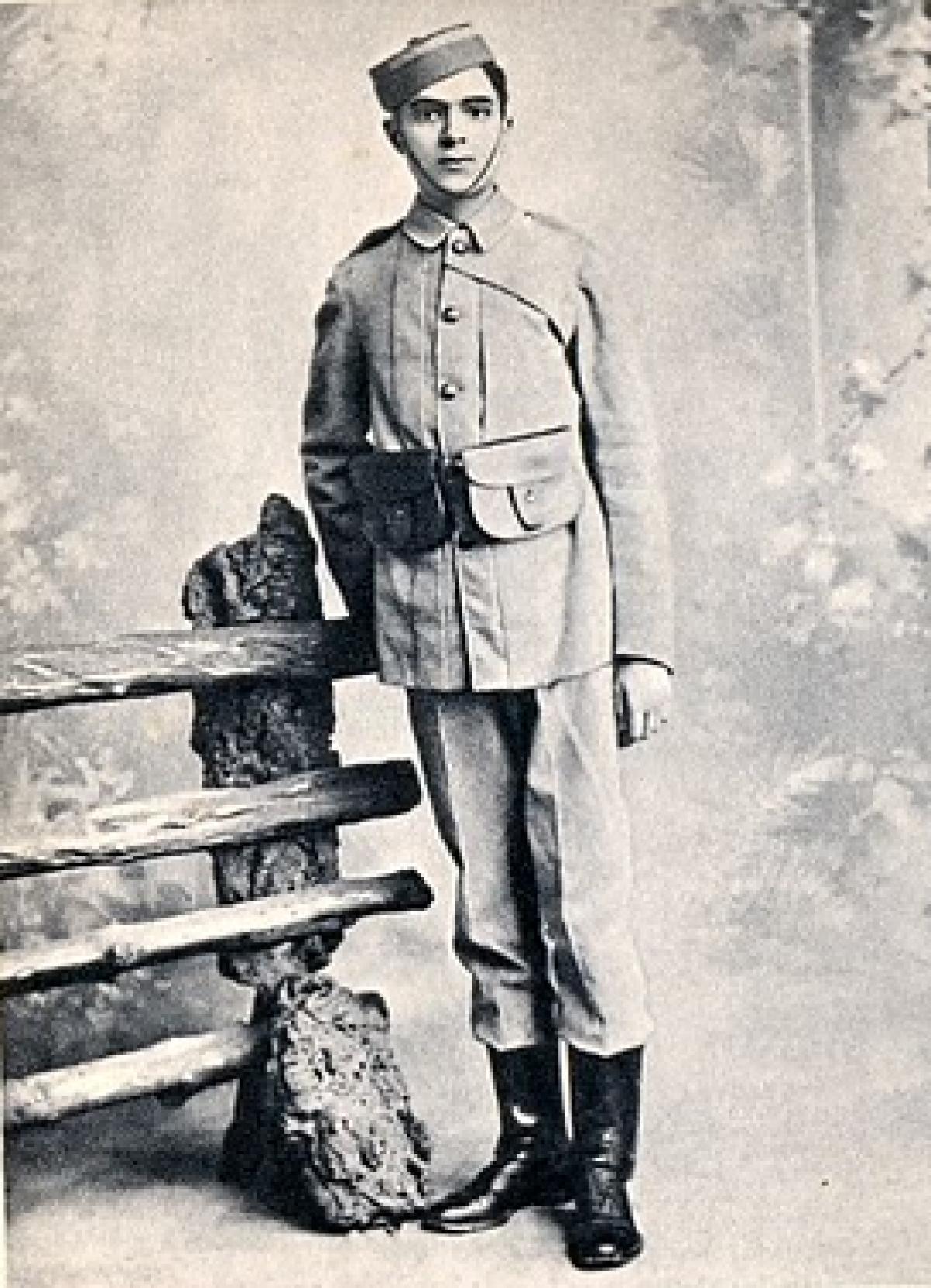 Jawaharlal Nehru in a cadet uniform at Harrow school