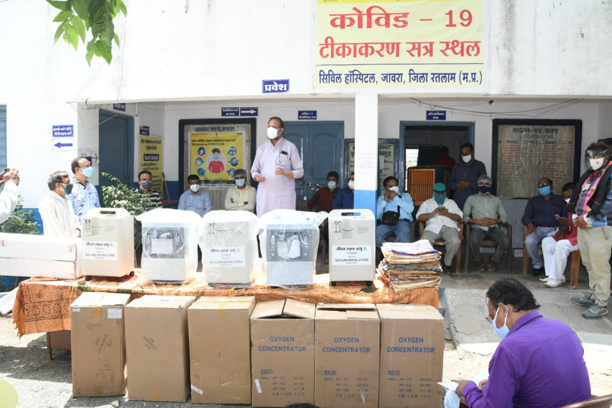 Oxygen concentrators kept in Jaora Civil Hospital premises