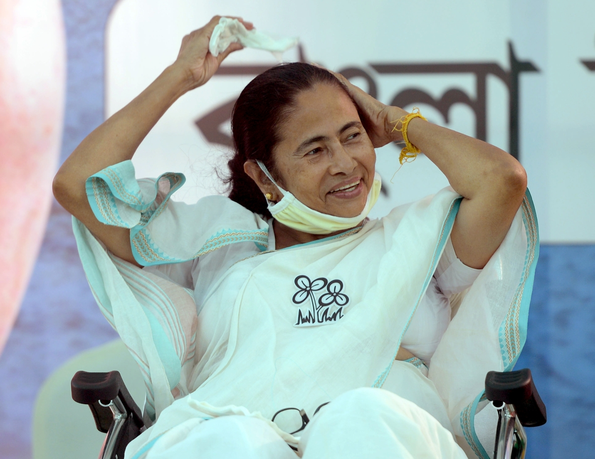West Bengal CM Mamata Banerjee on the day of West Bengal elections 2021 result, in Kolkata on Sunday.