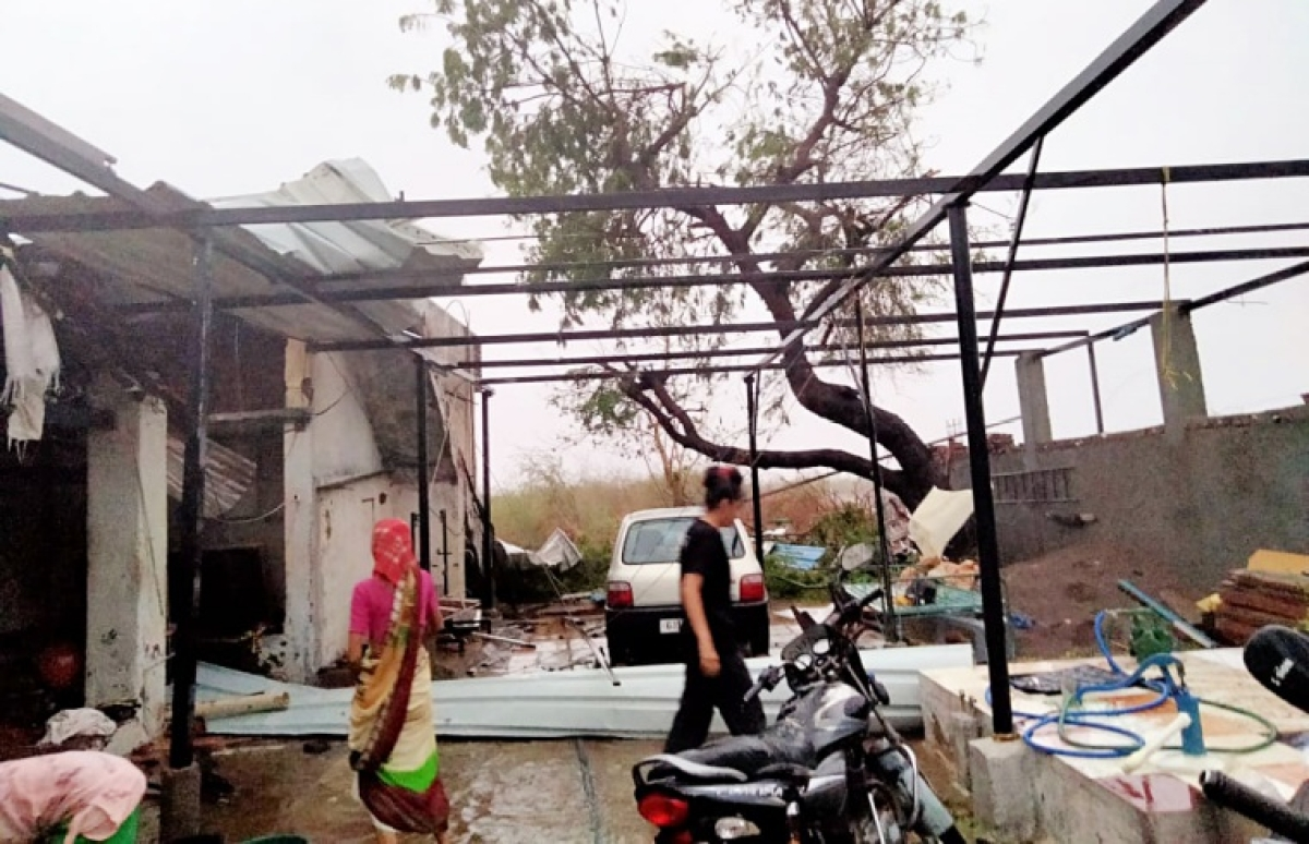 A view of damaged house aftermath of Cyclone Tauktae, in Amreli