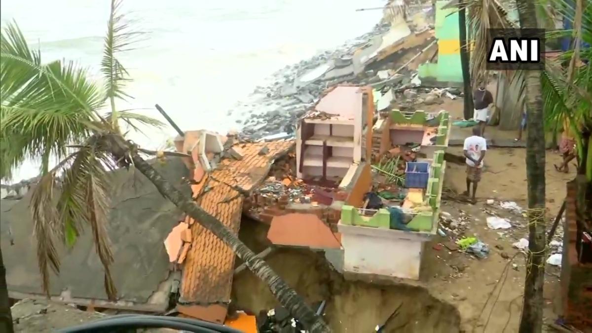Several houses damaged/destroyed in Valiyathura, a coastal village in Kerala's Thiruvananthapuram on May 16, 2021 due to cyclone Tauktae.