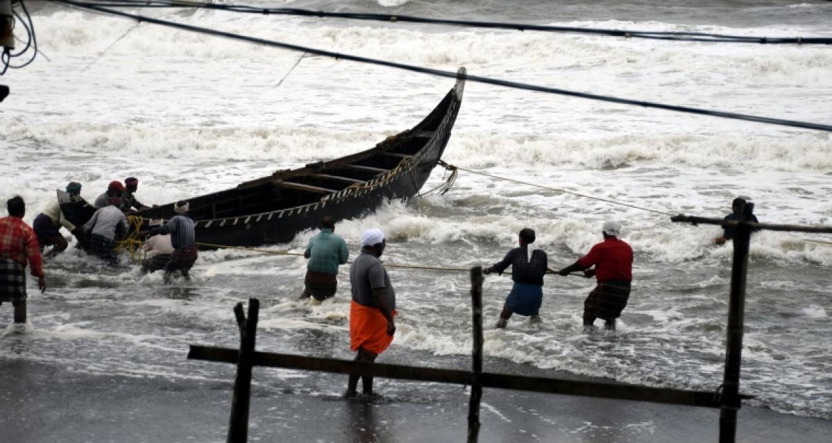 Fisherman anchored Boats at Valiyathura coast following the Cyclone alert in Thiruvananthapuram